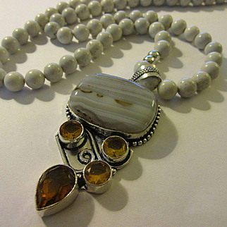 Grey Botswana Agate-Faux Citrine Gemstone Pendant with Feldspar Jasper Bead Necklace, 24""