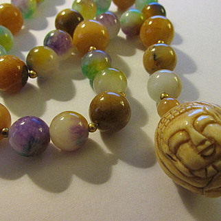 Three Faces of Buddha Carved Bone Charm-Pendant with Multi-Colored Jade Bead Necklace, 20""