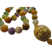 """Three Faces of Buddha Carved Bone Charm-Pendant with Multi-Colored Jade Bead Necklace, 20"""""""