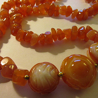 Triple Carved Carnelian Coin Charms with Carnelian Chips Necklace, 23""