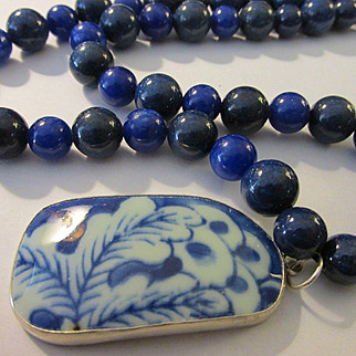 """Chinese Blue-and-White Pottery Shard Pendant with Gemstone Bead Necklace, 26"""""""