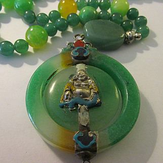 """Vintage Happy Buddha Green Jade Twirling Pendant with Jade and Aventurine Bead Necklace, 24"""""""