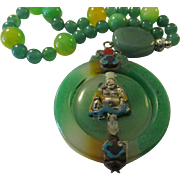 Vintage Happy Buddha Green Jade Twirling Pendant with Jade and Aventurine Bead Necklace, 24""