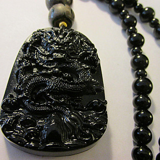 "Mythical Dragon on Black Obsidian Pendant with Tibetan Dzi and Black Onyx Bead Necklace, 21"""