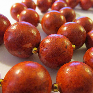 """Scarlet Red Grass Coral Bead Necklace with 14K GF Spacers, 23"""""""