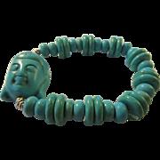 Turquoise Howlite Buddha and Bead Expandable Bracelet