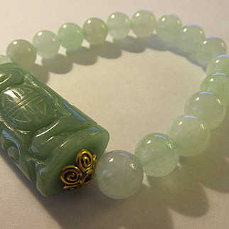 Carved Aventurine Focal Bead with Light Green Jade Bead Expandable Bracelet