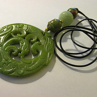 Chinese Green Jade Round Pendant of Dragon Dancing with Phoenix with Fancy Jade Beads on Black Pleather Cord