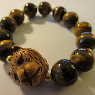 Tiger Bead Charm with Tiger Eye Gemstone Bead Expandable Bracelet