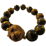 Tiger Bead Charm with Tiger Eye Gemstone Bead Expandable Bracelet
