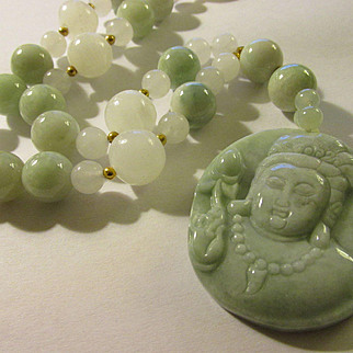 """Exquisite Celadon Green Jadeite Pendant of Kwan Yin with Matching Green and White Jade Bead Necklace, 20"""""""