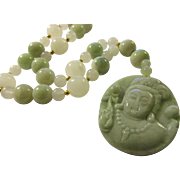 Exquisite Celadon Green Jadeite Pendant of Kwan Yin with Matching Green and White Jade Bead Necklace, 20""