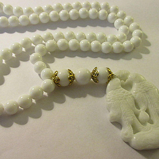 """White Lovebird Jade Pendant with Natural White Alabaster Bead Necklace, 26"""""""