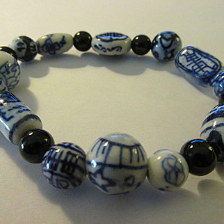 Blue-and-White Chinese Porcelain Ceramic Bead Expandable Bracelet, One Size