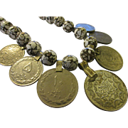 Vintage Middle Eastern Silver Tone Metal Coins with White Spackled Khaki Bead Necklace, 20""