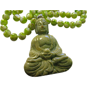 Green Jade Buddha Pendant with Green Mother-of-Pearl Bead Necklace, 24""