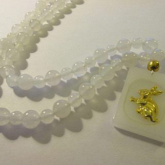 Golden Bunny Rabbit Chalcedony Pendant with White Jade Bead Necklace, 18""
