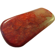 Intriguing Red Chicken Blood Jade Collectible-Paperweight-Pendant, 3 1/4""