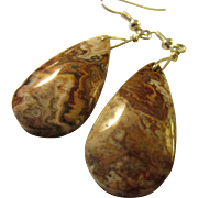 Crazy Lace Jasper Gemstone Teardrop Pierced Earring, 2""