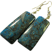 Teal Blue Crazy Lace Agate Gemstone Tile Earrings, 2""
