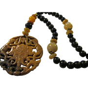 Elephant and Two Monkeys Chinese Jade Pendant with Black Agate and Jade Bead Necklace,  24""