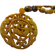 Chinese Mythical Dragon Yellow Jade Pendant with Honey Jade Drum Beads, Tri-Color Jade, Moss Agate, Dzi Bead Necklace, 24""