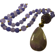 Lavender-Lilac-Purple Amethyst Gemstone Pendant and Bead Necklace, 27""