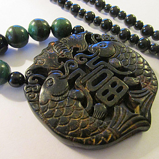 Chinese Money Bat-Good Fortune Fish Black Jade Medallion with Black Agate and Green Gemstone Bead Necklace, 30""
