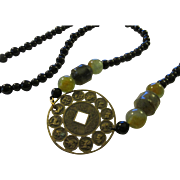 Chinese Brass Animal Zodiac Coin Amulet with Green Jade and Black Agate Bead Necklace, 34""