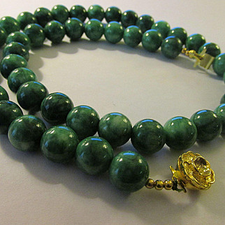 "Chinese Bright Green Jade Ball Bead Necklace with Fancy Golden Rose Pinch Clasp, 24"","
