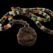 "108 Mala Prayer Multi-Gemstone Bead Necklace with Carved Stone Amulet, 32"""