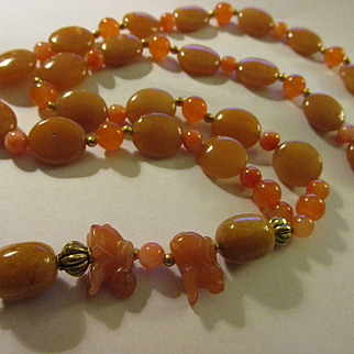 Tangerine Orange Aventurine and Topaz Bead Necklace with Two Bunny Rabbit Charms, 26""