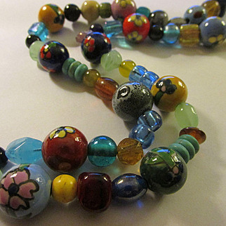 Rainbow-Colored Hand Painted Ceramic and Glass Bead Necklace, 23""