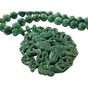 Green Jade Medallion of Lady Playing Stringed Instrument with Green Jade Ball Bead Necklace, 21""