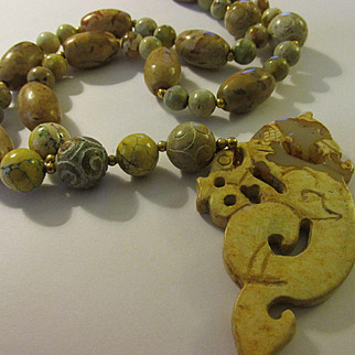Old Chinese Jade Dragon Pendant with Etched Ball and Barrel Jade Bead Necklace, 26""