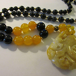 Carved Yellow Chinese Jade Pendant with Gemstone Bead Necklace, 28""