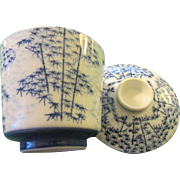 Vintage Japanese Blue-and-White Bamboo Ceramic Tea Cup Set