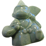 "Japanese Celadon Green Ceramic Monkey ""Gyoji"" Figurine Collectible, 3"""