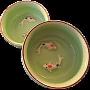 Japanese Mint Green Ceramic Sauce Dish with Koi-Carp Motif, Set of 2