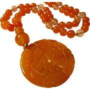 """Red Aventurine Double Happiness Pendant with Gemstone Bead Necklace, 24"""""""