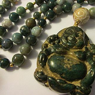 Happy Buddha Deep Green Jade Pendant with Jade-Agate Bead Necklace, 27""