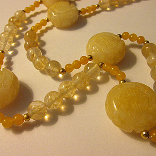 "Yellow Chinese Jade ""Shou"" Bead Necklace, 23"""