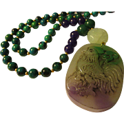 Chinese Jade Chicken Pendant with Jade Shou-Gemstone Bead Necklace, 23""