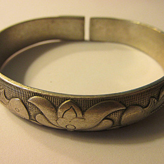 Chinese Miao Silver Adjustable Bangle with Double Fish and Lotus Blossom Motif
