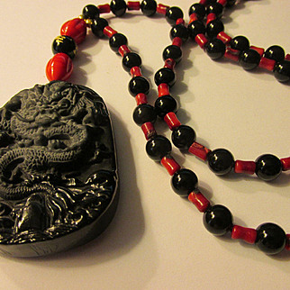 Jet Black Obsidian Dragon Pendant with Red Coral-Black Agate Bead Necklace, 26""