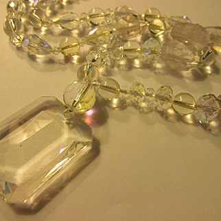 Clear Quartz Crystal Cut Pendant Necklace with Natural Crystal Points-Teardrop-Round-Faceted-Rondelle-BiCone Beads, 28""
