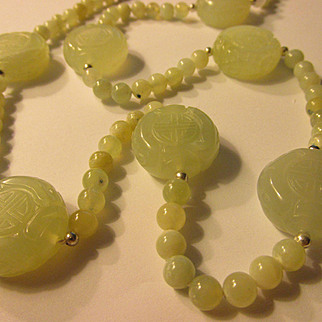 "Mint Green Chinese Jade Coin Bead Necklace with ""Shou"" Motif, 22"""