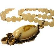 Dendritic White Opal-Citrine Artisan Pendant with White Jade Bead Necklace, 28""