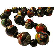 Nepal Handmade Glass Trade Beads with Black Agate Necklace, 20""