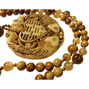 Chinese Money Bat and Prosperity Fish Jade Pendant with Picture Jasper-Agate-Jade Bead Necklace, 24""